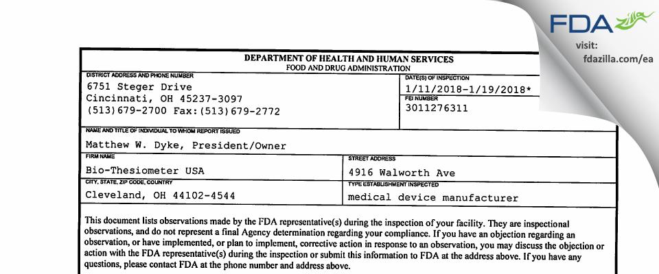 Bio-Thesiometer USA FDA inspection 483 Jan 2018