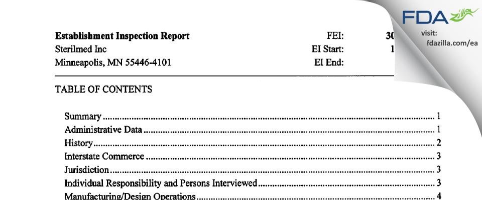 Sterilmed FDA inspection 483 Dec 2015