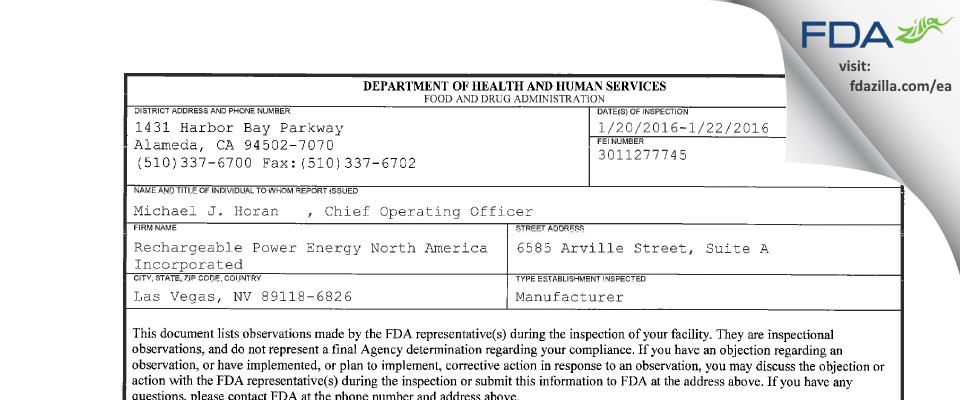 Zeller Power Products FDA inspection 483 Jan 2016
