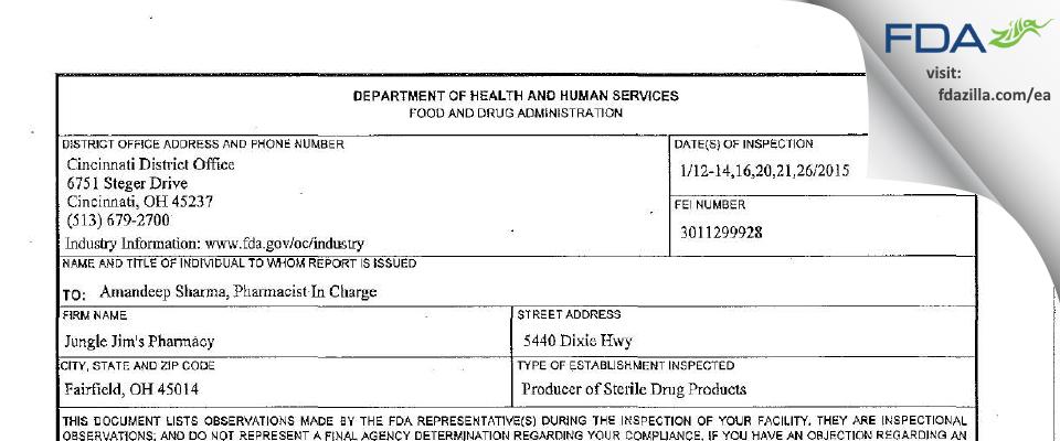 Jungle Jim's Pharmacy FDA inspection 483 Jan 2015