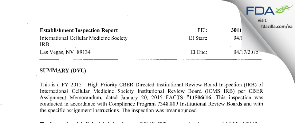 International Cellular Medicine Society IRB FDA inspection 483 Apr 2015