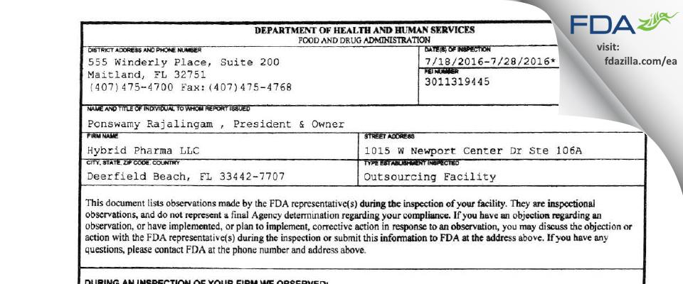 Hybrid Pharma FDA inspection 483 Jul 2016