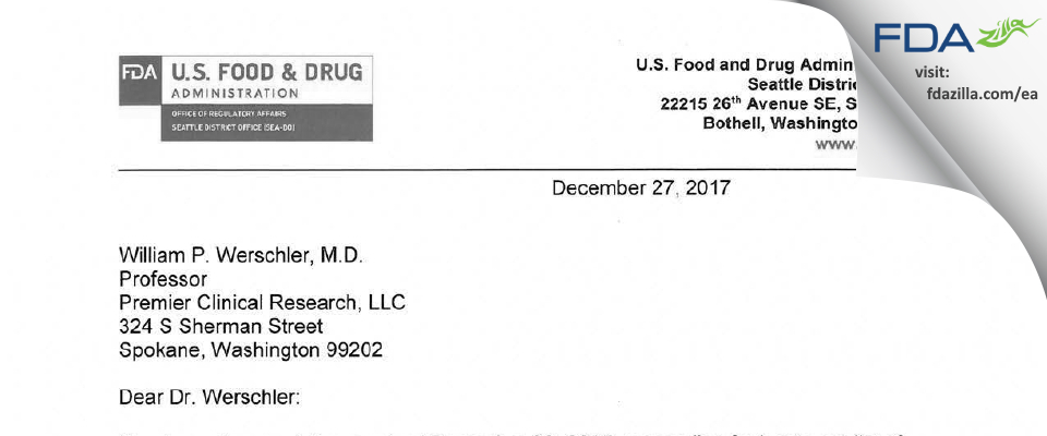 Premier Clinical Research FDA inspection 483 Nov 2017