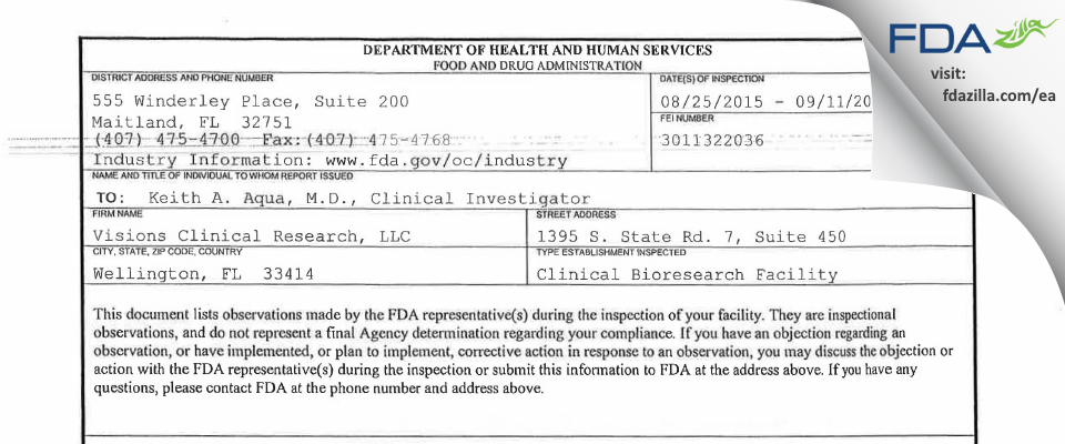 Visions Clinical Research FDA inspection 483 Sep 2015