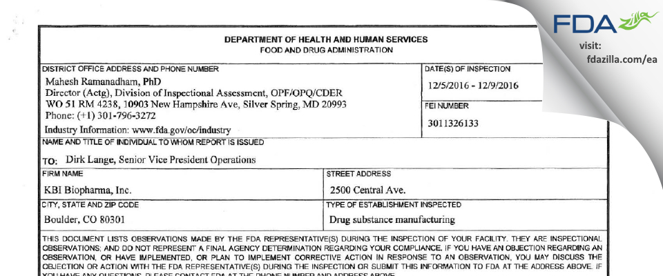 KBI Biopharma FDA inspection 483 Dec 2016