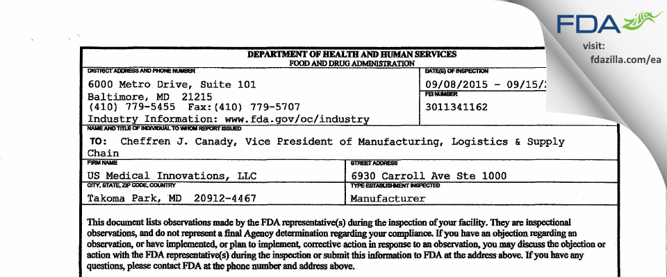US Medical Innovations FDA inspection 483 Sep 2015