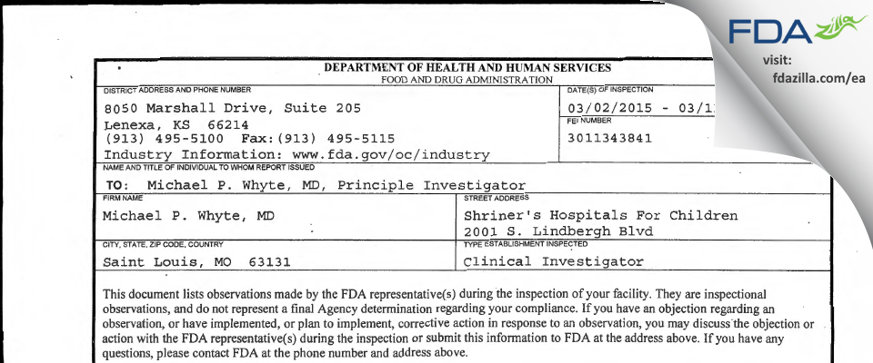 Michael P. Whyte, MD FDA inspection 483 Mar 2015
