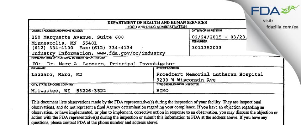 Lazzaro, Marc, MD FDA inspection 483 Mar 2015