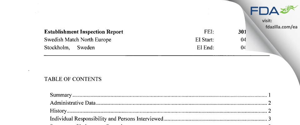Swedish Match North Europe FDA inspection 483 Apr 2015