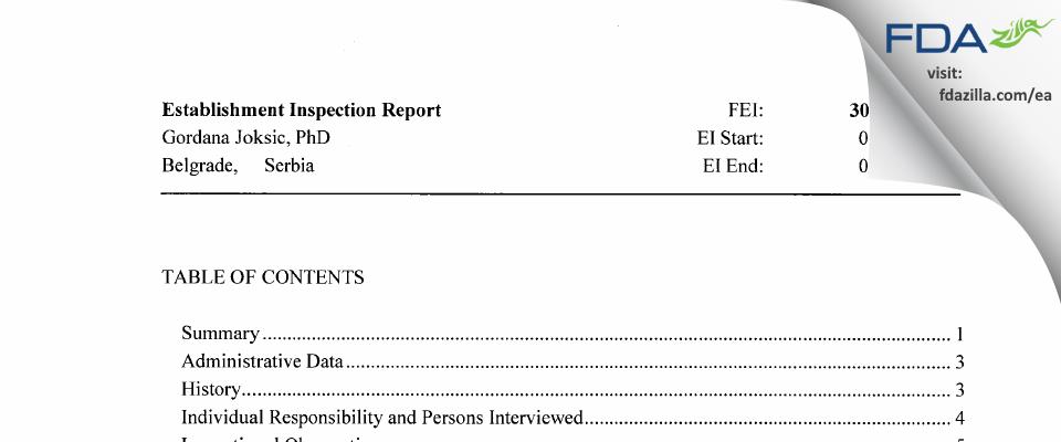Gordana Joksic, PhD FDA inspection 483 Apr 2015