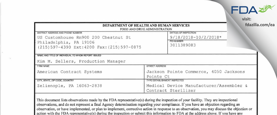 American Contract Systems FDA inspection 483 Oct 2018