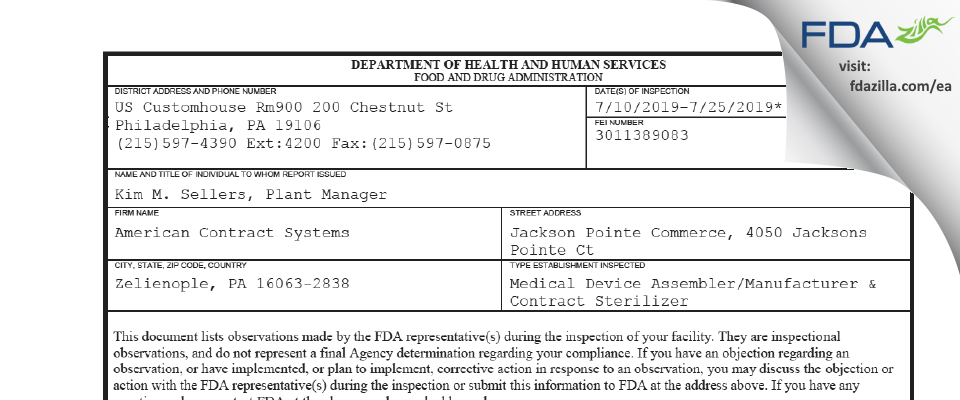 American Contract Systems FDA inspection 483 Jul 2019