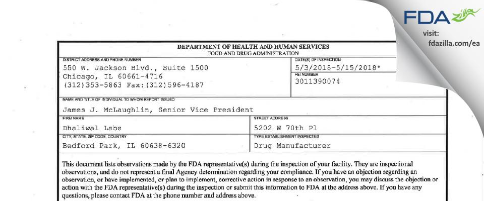 Dhaliwal Labs FDA inspection 483 May 2018