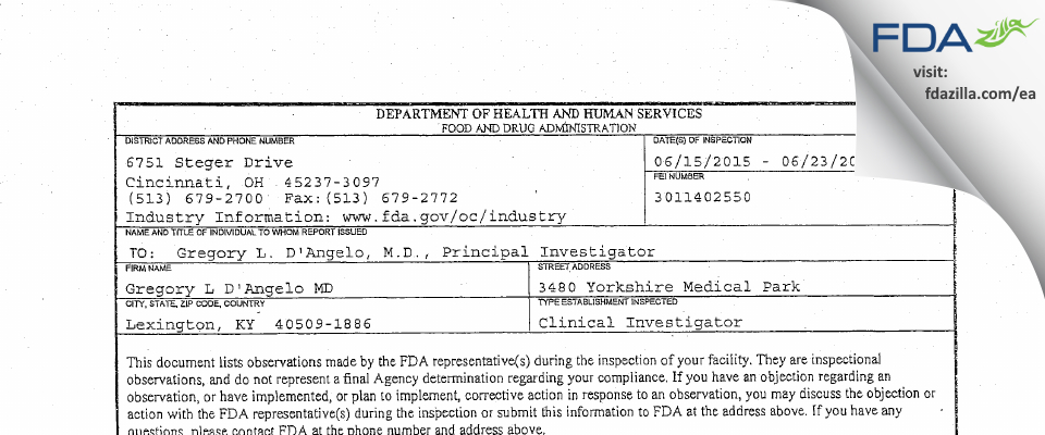 Gregory L D'Angelo MD FDA inspection 483 Jun 2015