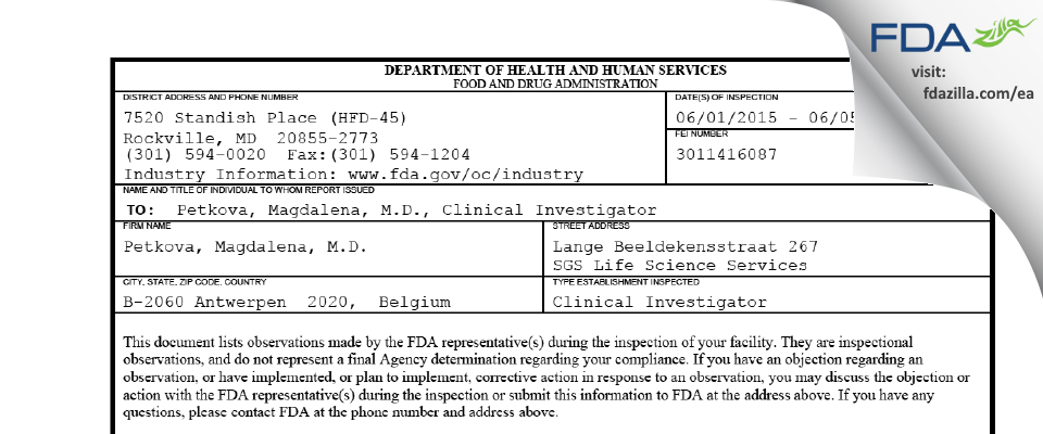 Petkova, Magdalena, M.D. FDA inspection 483 Jun 2015