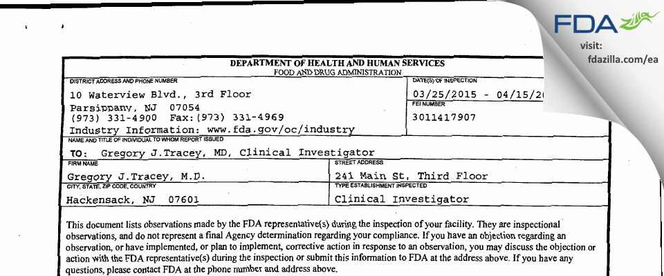 Gregory J. Tracey, M.D. FDA inspection 483 Apr 2015