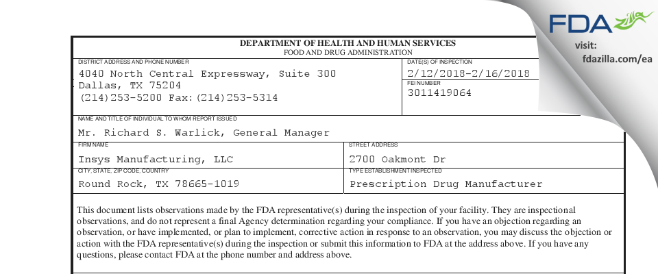 Insys Manufacturing FDA inspection 483 Feb 2018