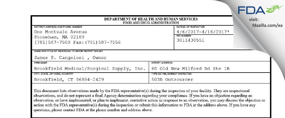Brookfield Medical/Surgical Supply FDA inspection 483 Apr 2017