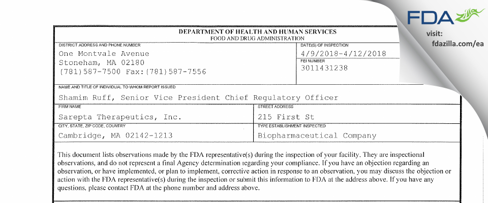 Sarepta Therapeutics FDA inspection 483 Apr 2018