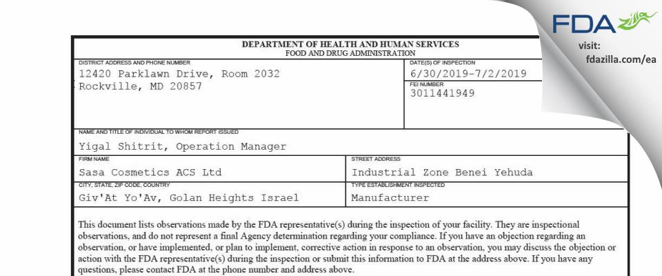 Sasa Cosmetics ACS FDA inspection 483 Jul 2019