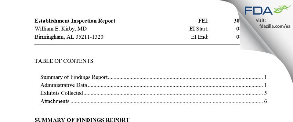 William E. Kirby, MD FDA inspection 483 Aug 2016