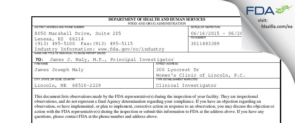 James Joseph Maly FDA inspection 483 Jun 2015