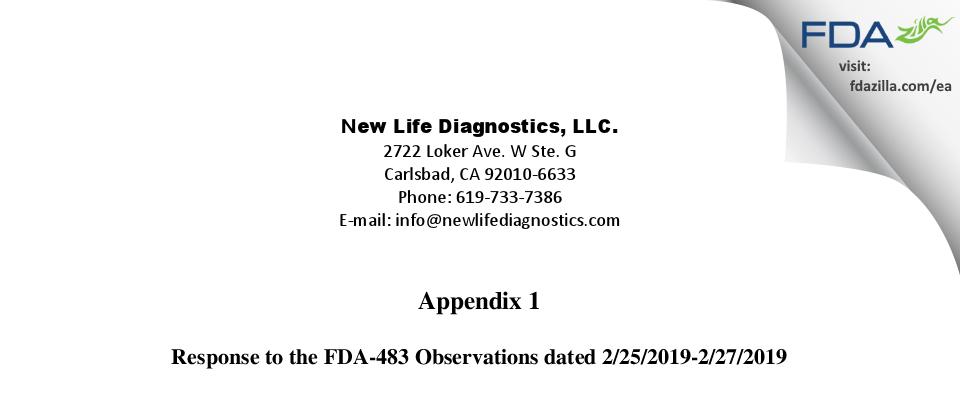 NEW LIFE DIAGNOSTICS FDA inspection 483 Feb 2019