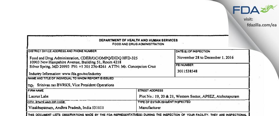 Laurus Labs Private FDA inspection 483 Dec 2016
