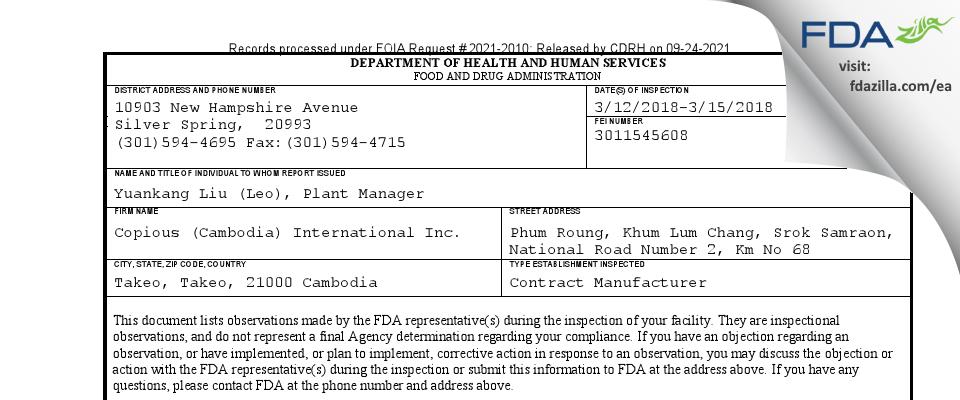 Copious (Cambodia) International FDA inspection 483 Mar 2018