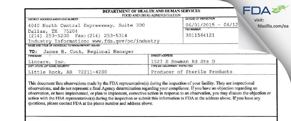 Lincare FDA inspection 483 Jun 2015
