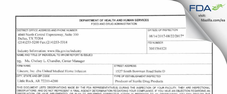Lincare FDA inspection 483 Aug 2017