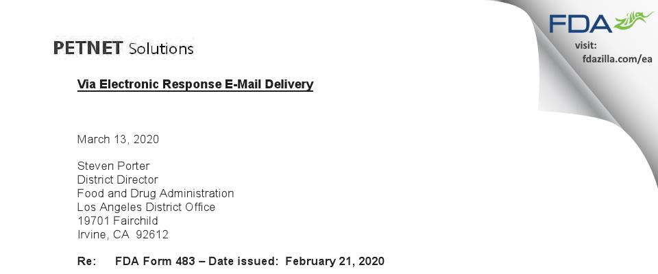 PETNET Solutions FDA inspection 483 Feb 2020