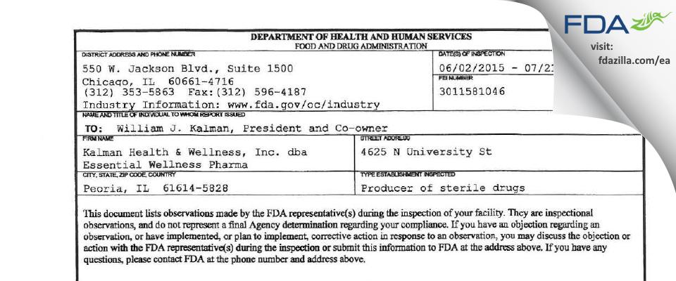 Kalman Health & Wellness dba Essential Wellness Pharma FDA inspection 483 Jul 2015