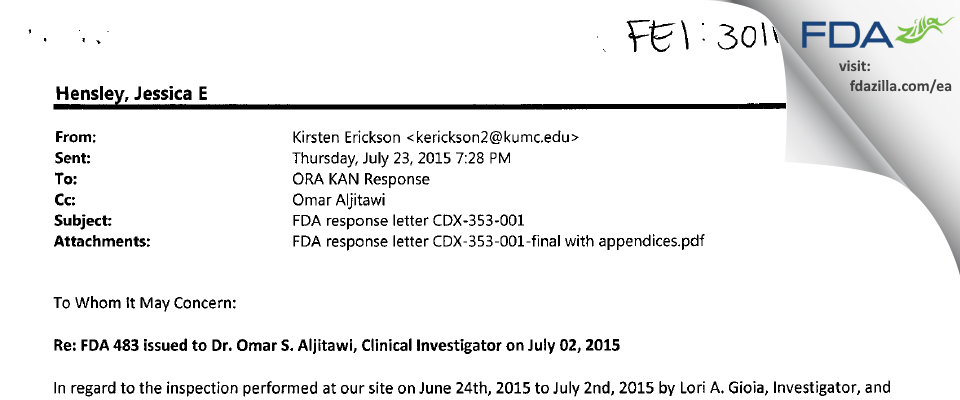 Omar S. Aljitawi M.D. FDA inspection 483 Jul 2015