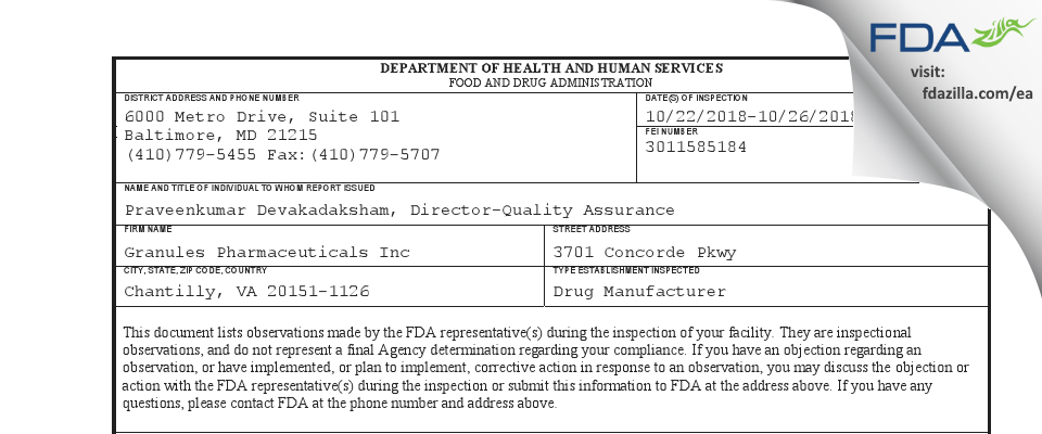 Granules Pharmaceuticals FDA inspection 483 Oct 2018
