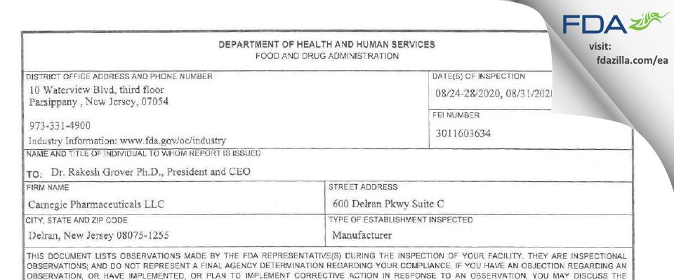 Carnegie Pharmaceutical FDA inspection 483 Sep 2020