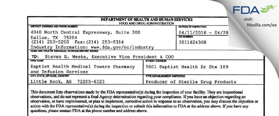 Option Care Enterprises dba Option Care FDA inspection 483 Apr 2016
