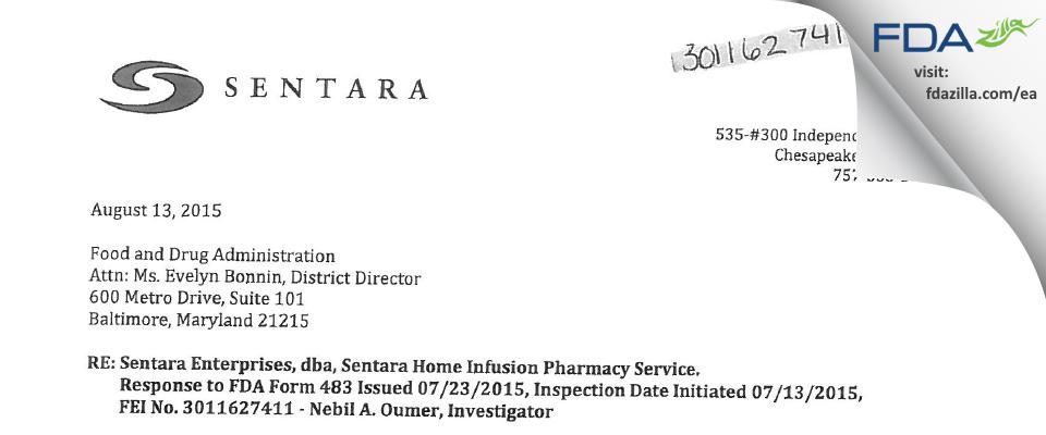 Sentara Enterprises, dba Sentara Home Infusion Pharmacy FDA inspection 483 Jul 2015