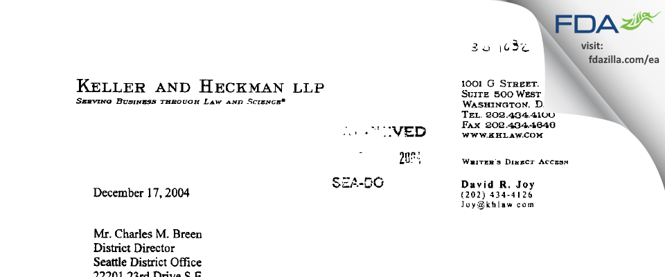 Pascal Company FDA inspection 483 Dec 2004