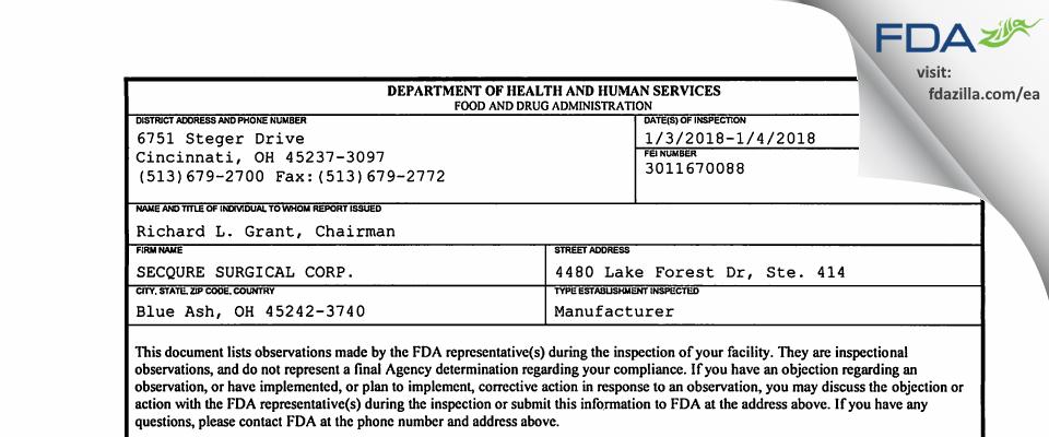 Endoprime FDA inspection 483 Jan 2018