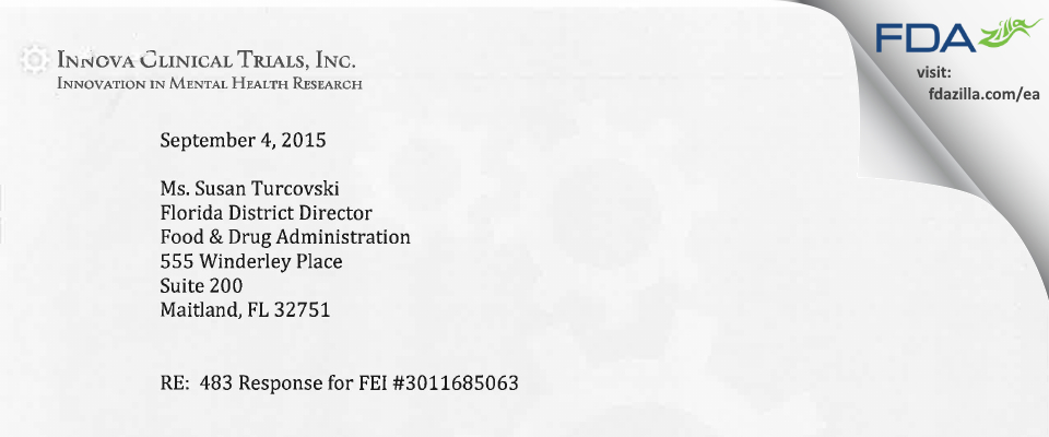 Carlos Danger, M.D. FDA inspection 483 Aug 2015