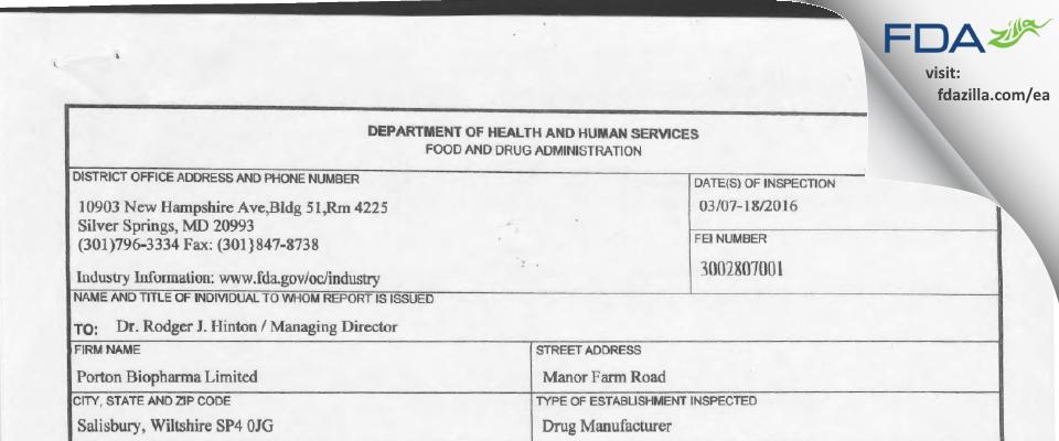 Porton Biopharma FDA inspection 483 Mar 2016