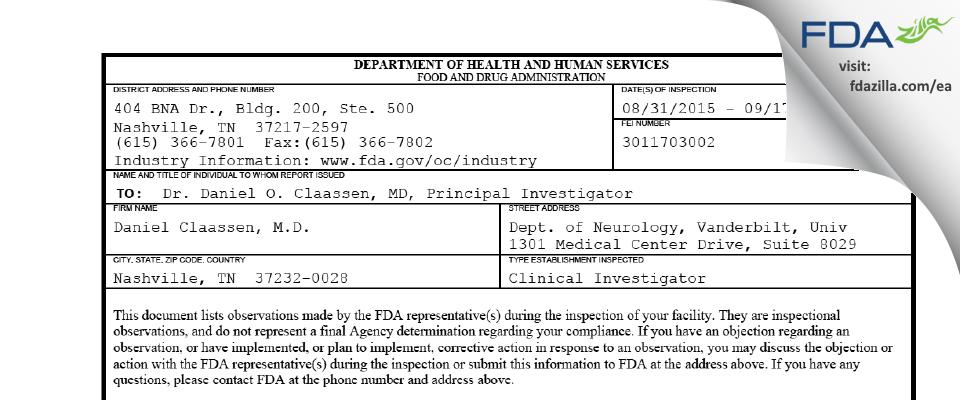 Daniel Claassen, M.D. FDA inspection 483 Sep 2015