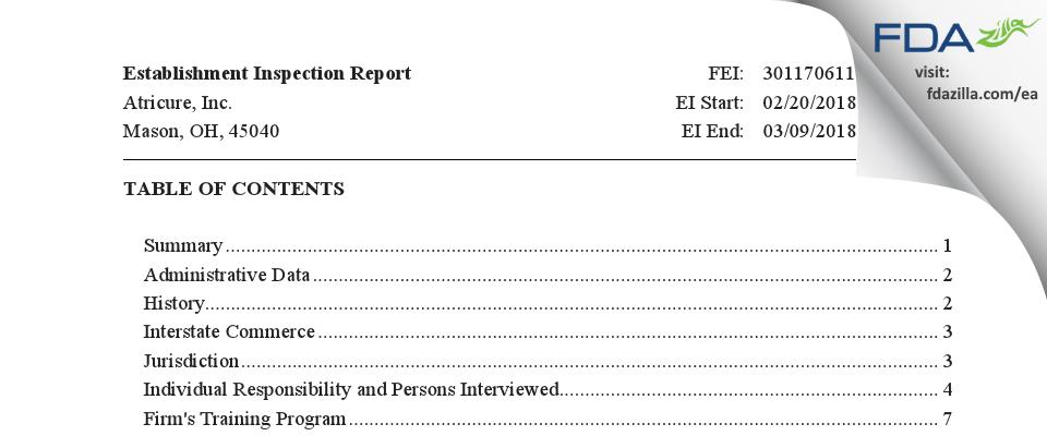 AtriCure FDA inspection 483 Mar 2018