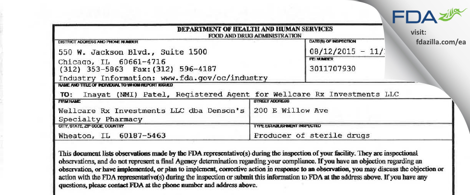 WellRx FDA inspection 483 Nov 2015