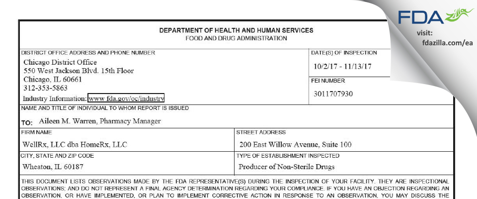 WellRx FDA inspection 483 Nov 2017
