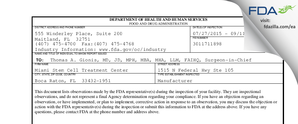 Miami Stem Cell Treatment Center FDA inspection 483 Sep 2015