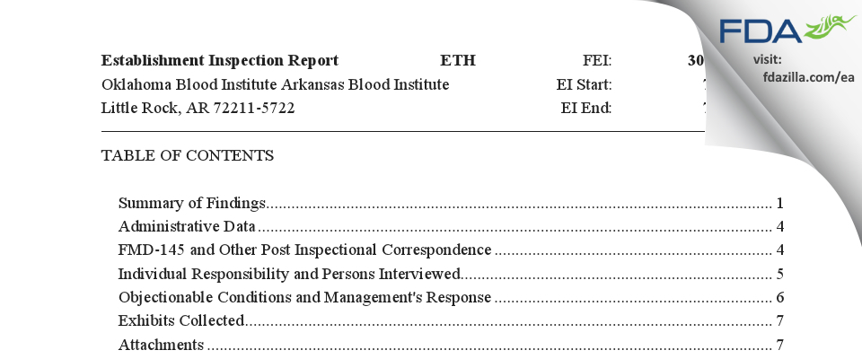Oklahoma Blood Institute Arkansas Blood Institute FDA inspection 483 Jul 2018