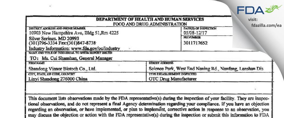 Shandong Vianor Biotech FDA inspection 483 May 2017