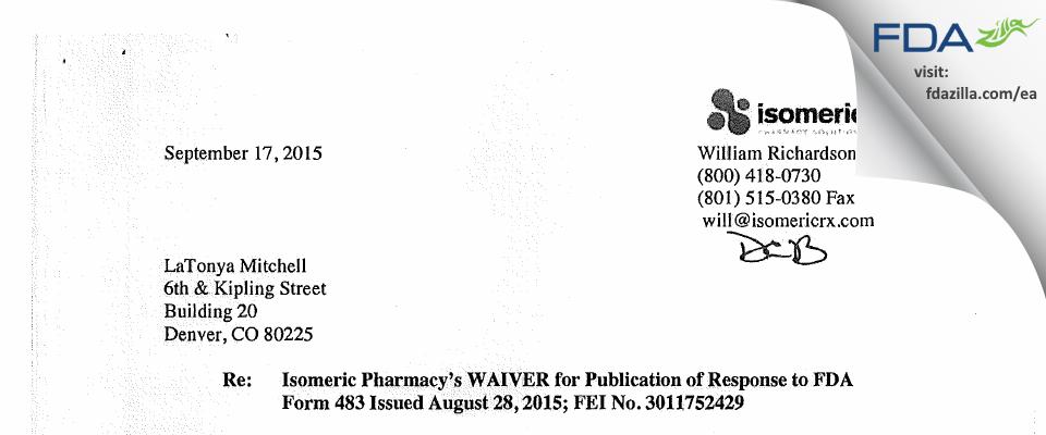 Isomeric Pharmacy Solutions FDA inspection 483 Aug 2015